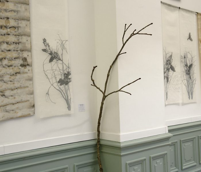 """exposition Shinrin-Yoku de mapie des vignes et helena sellergren.kakemono - """"Haïku de la forêt"""" - voile de lin, sérigraphie - Helena Sellergren"""