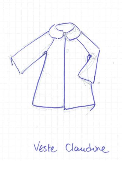 dessin de la veste Claudine de la collection de mapie des vignes
