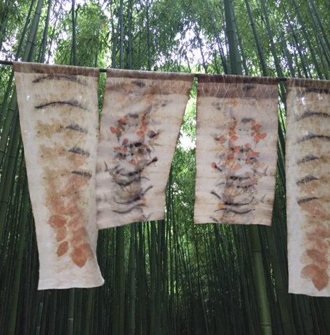 """exposition Shinrin-Yoku de mapie des vignes et helena sellergren.Noren """"Ouest"""" empreintes végétales sur soie et chanvre"""